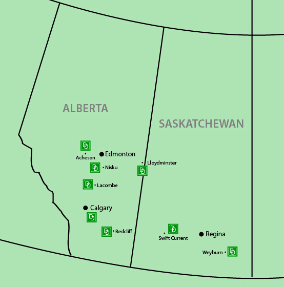 Map of D&D Oil Field Rentals' offices in Western Canada.